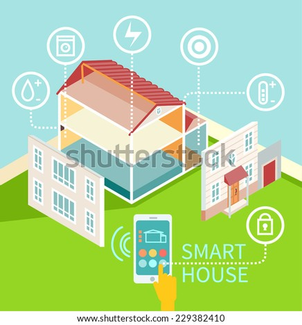Flat design concept of smart house technology with centralized control. Isometric house with its parts isolated. Vector illustration - stock vector
