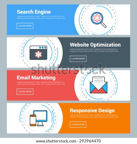 Flat Design Concept. Set of Vector Web Banners. Search Engine, Website Optimization, Email Marketing, Responsive Design - stock vector