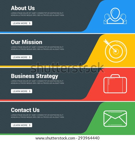Flat Design Concept. Set of Vector Web Banners. Template for Wesite Headers. About us, Our Mission, Business Strategy, Contact us - stock vector