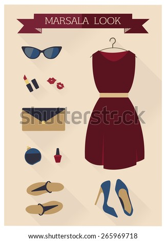 Flat design concept vector illustration of every day carry and outfit accessories, things, tools,  essentials, equipment, objects, items. Icons collection in stylish colors. Clothes - stock vector