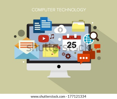 Flat design concept vector illustration surrounded by a cloud of colourful application icons of computer technology. - stock vector