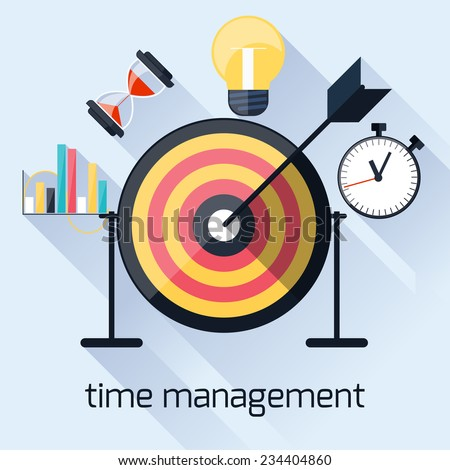 Flat design concept with target and arrow for time management, targeting, work planning and timing with long shadows - stock vector