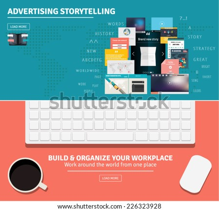 Flat design concepts for advertising storytelling and freelancer's work from home, organizing workplace. - stock vector
