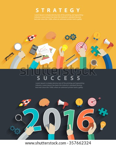 Flat design concepts for business analysis and planning new year 2016, consulting, team work, project management, brainstorming, research and development, Vector illustration layout template top view - stock vector
