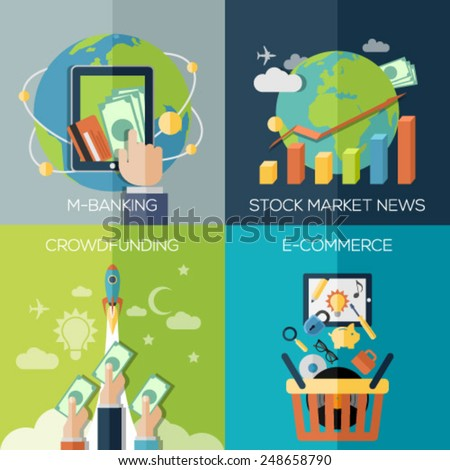 Flat design concepts for business, finance, stock market and financial market news, consulting, m-banking, online investing, crowdfunding. Concepts for web banners and promotional materials. - stock vector