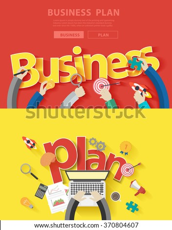 Flat design concepts for business plan analysis and planning, consulting, team work, project management, brainstorming, research and development, Vector illustration layout modern template top view
