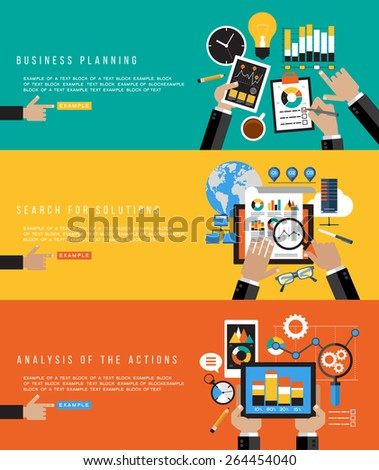 Flat design concepts for business planning, search for solutions, analysis of the action. Banners for websites. Icons for web design. Modern background with human hands and colored icons. - stock vector