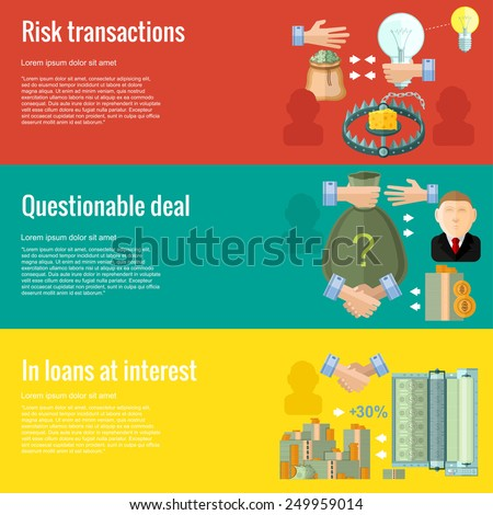 Flat design concepts for business.questionable deal; in loans at interest; risk transactions.Concepts for web banners and promotional materials - stock vector
