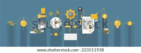 Flat design concepts for business strategy and creative process - stock vector