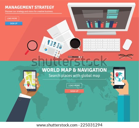 Flat design concepts for business strategy, freelance, outsource designers, global market, teamwork, office work,workplace. Concepts and icons for web banners, apps and promotional materials. - stock vector