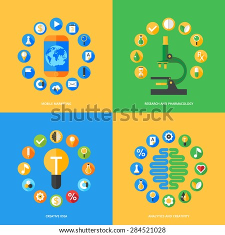 Flat design concepts for business strategy, search engine optimization, support service, great idea, education, brain concept, pharmacy - stock vector