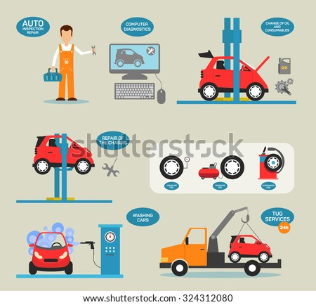 Flat design concepts for car service, Car repairs, tire service, car diagnostics. Concepts for web banners and promotional materials. - stock vector