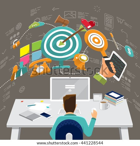 Flat design concepts for Content Marketing, Finding Target of Market, Mobile Banking. Concepts for web banners and promotional materials. - stock vector