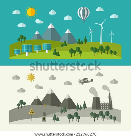 Flat design concepts for ecology. Vector illustration. - stock vector