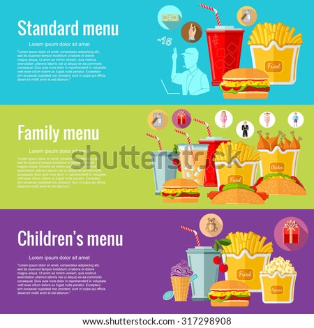 Flat design concepts for fast food. standart menu family menu children's menu. Concepts for web banners and promotional materials - stock vector