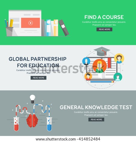 Flat design concepts for general knowledge, global partnership, find a course. Concepts for web banners and promotional materials. Vector illustration. - stock vector