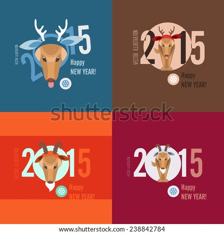 Flat Design Concepts For Merry Christmas and Happy New Year Cards. Vector Illustration. Eps 10 - stock vector
