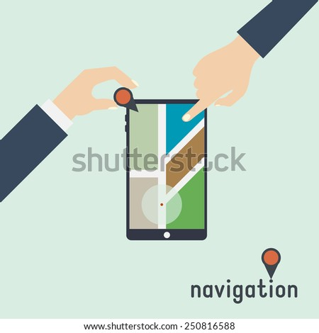 flat design concepts for mobile GPS navigation, vector - stock vector