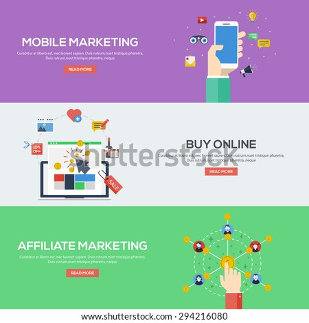 Flat design concepts for mobile marketing, buy online and affiliate marketing. Concepts for web banners and promotional materials.Vectors - stock vector