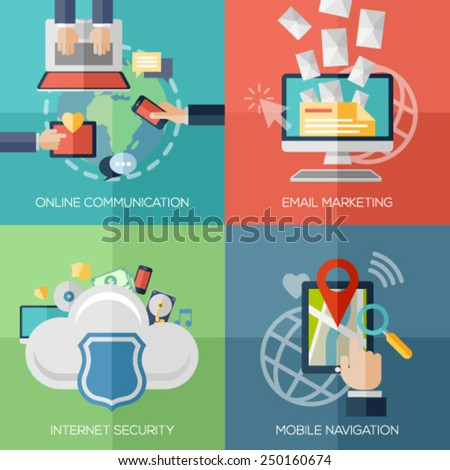 Flat design concepts for online communication, social network, strategic communication, email marketing, internet security, cloud computing, mobile navigation. Concepts for web promotional materials. - stock vector