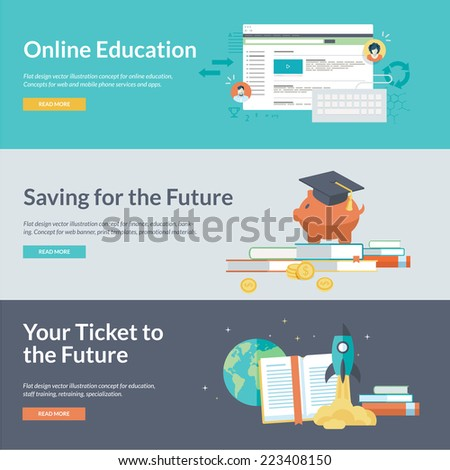 Flat design concepts for online education, staff training, retraining, specialization, finance, banking, student loans, marketing. Concepts for web banners and promotional materials.     - stock vector