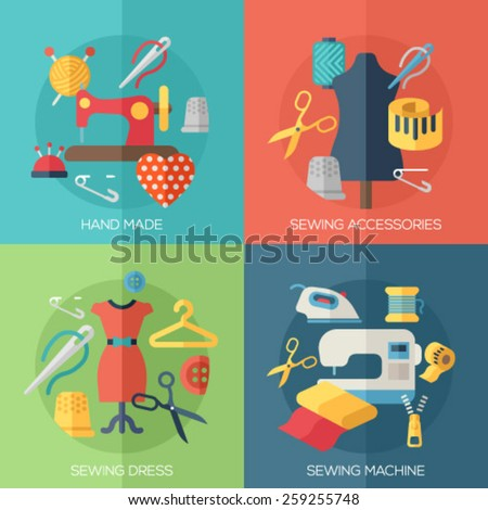 Flat design concepts for sewing dress, sewing machine, accessories, hand made. Concepts for web banners and promotional materials. - stock vector