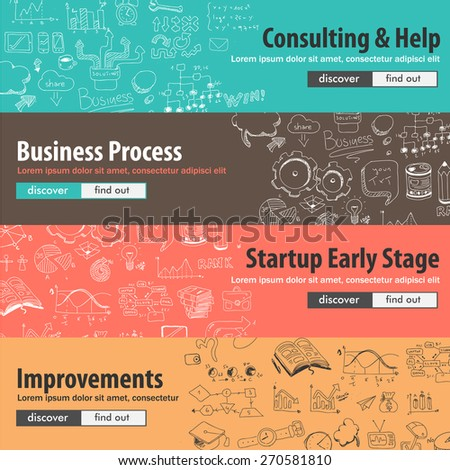Flat design concepts for start ups, consulting,  business, finance, management, team work, analysis, strategy and planning, Ideal to use for printed materials, brochures or banners - stock vector