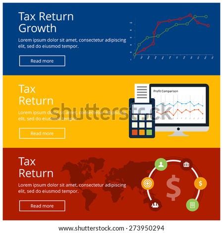 Flat design concepts for Tax Return website banner set Tax Return updated concept 3 different website banner template. Vector illustration - stock vector