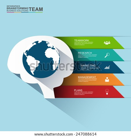 Flat design concepts for teamwork and brainstorming infographic - stock vector
