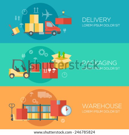 Flat design concepts for warehouse, packing, delivery. Concepts for web banners and promotional materials. - stock vector