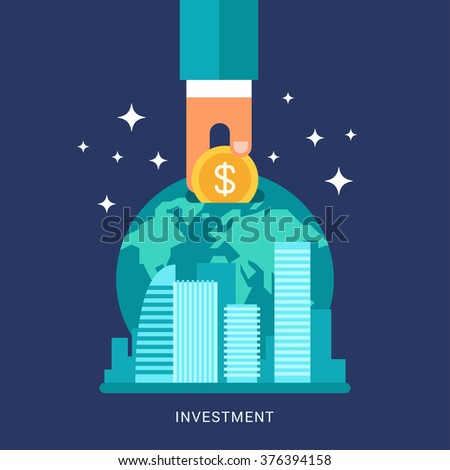 Flat Design Conceptual Illustration of Global Finance, Economy and Investment. Human Hand with Coin and Earth - stock vector