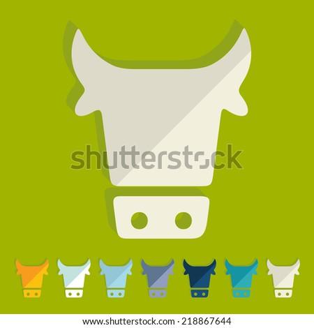 Flat design: cow - stock vector