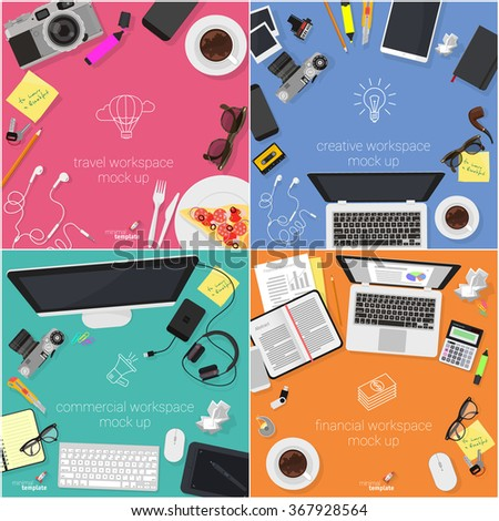 Flat design creative work space concept for web design. Concept for web site and promotion. - stock vector