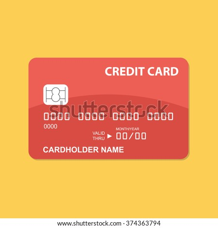 Flat design credit card template. - stock vector