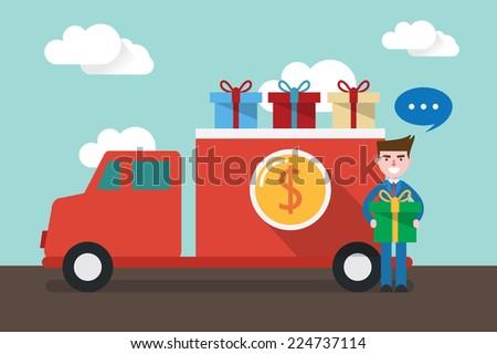 flat design, delivery man concept illustration - stock vector