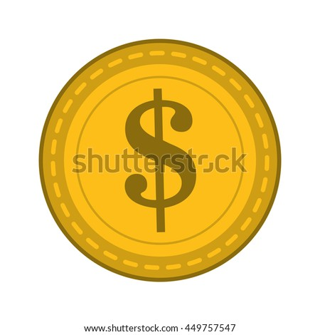 flat design dollar sign coin icon vector illustration