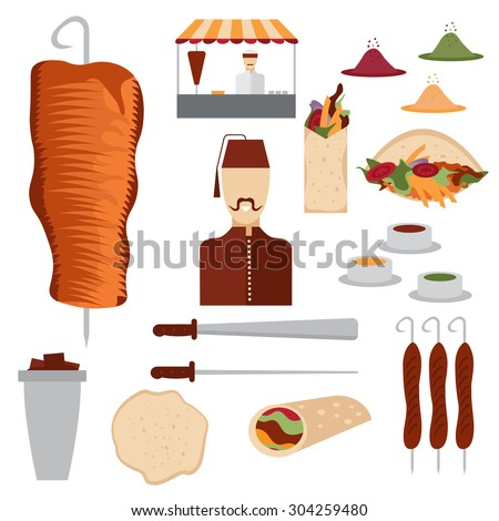 flat design doner kebab elements and chef - stock vector