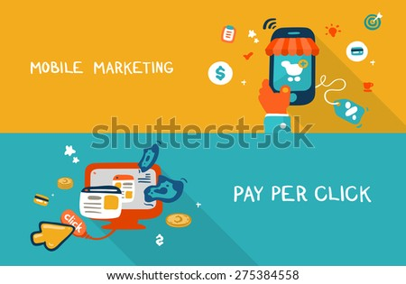 Flat design doodle illustration concept of mobile marketing and pay per click - stock vector