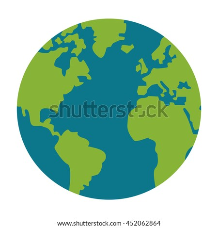 flat design earth globe icon vector illustration - stock vector