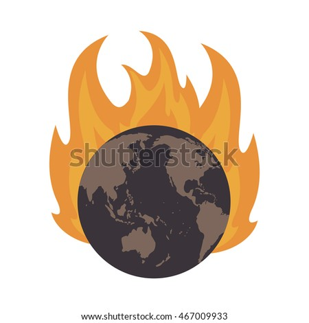 flat design earth globe on fire icon vector illustration