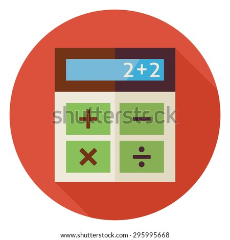 Flat Design Education and Maths Calculator. Back to School and Education Vector illustration. Flat Style Colorful Calculator Circle Icon with long Shadow. Study and Learning Business Object. - stock vector