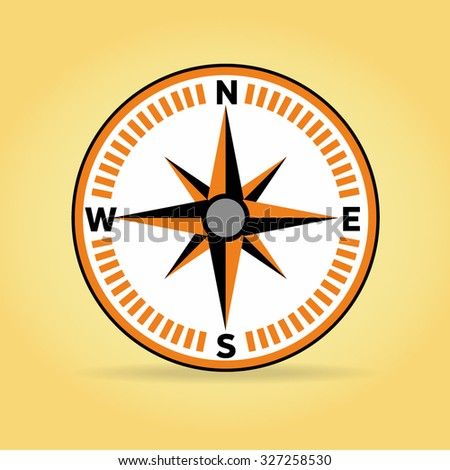 Flat design element of compass navigation, finance direction, business conception, adventure, travel direction and right way for road.