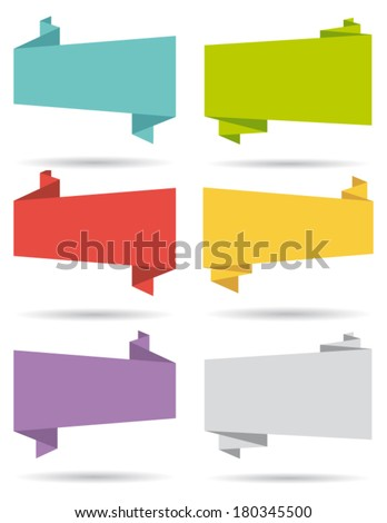 Flat design elements. Origami banners. Set II. Vector collection. - stock vector
