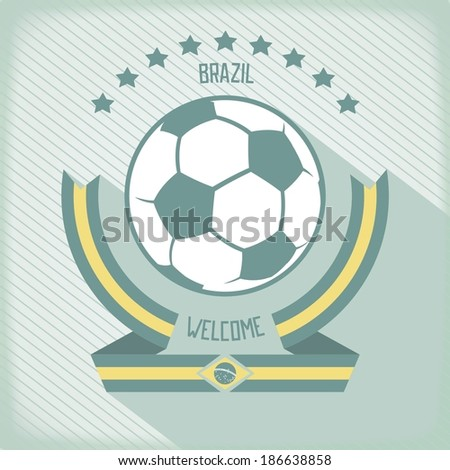 Flat design emblem for football in Brazil. Ribbons around the ball. Vector eps 10 - stock vector