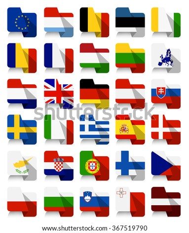 Flat Design European Union Waving Flags.All elements are separated in editable layers clearly labeled. - stock vector