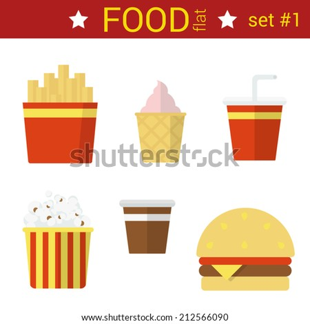 Flat design fast food vector icon set. Burger, fried potato, coffee, cola, ice cream, popcorn. Food flat collection. - stock vector