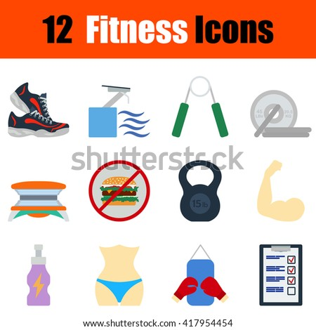 Flat design fitness icon set in ui colors. Vector illustration. - stock vector