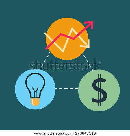 flat design for business finance icon - stock vector
