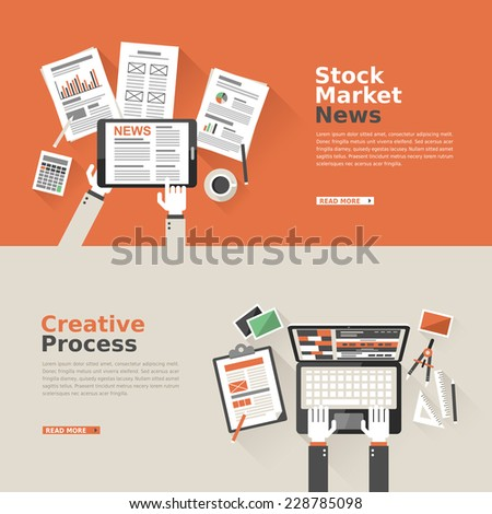 flat design for stock market news and creative process  - stock vector