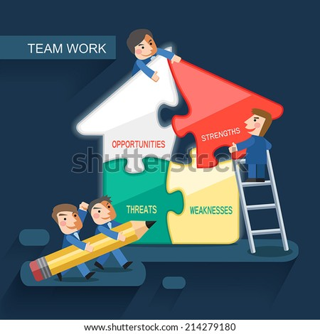 flat design for team work concept graphic - stock vector